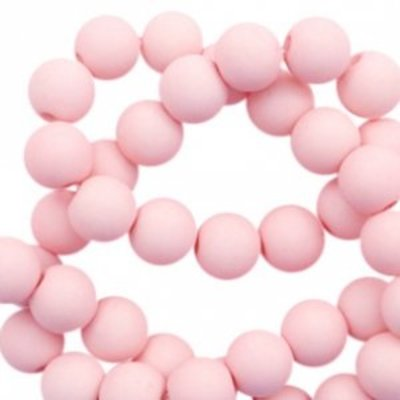 Roze Acryl kralen mat Powder pink 8mm - 50 stuks