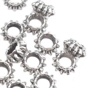 Zilver Kraal spacer Ø3.5mm ring Zilver 7x4mm - 12 stuks
