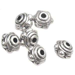 Zilver Kraal spacer dots ring Zilver 7x5.5mm - 10 stuks