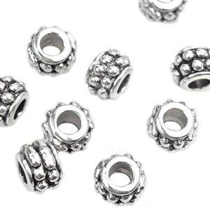 Zilver Kraal spacer dubbele dots Ø3mm Zilver 6.5x4.5mm - 10 stuks