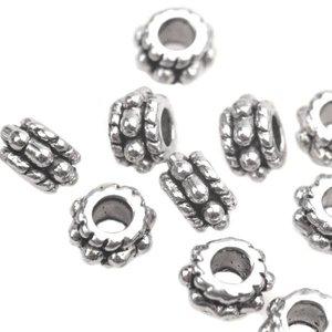 Zilver Kraal spacer tonnetje dots Zilver 5x3mm - 25 stuks