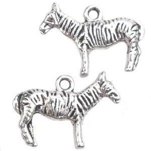 Zilver Bedel zebra Zilver 16x22mm - 3 stuks