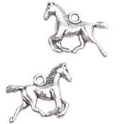Zilver Bedel paard in galop Zilver 14x19mm - 4 stuks