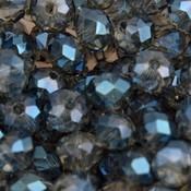 Blauw Glaskraal rondel grijs blauw shine 6x4mm - 45 stuks