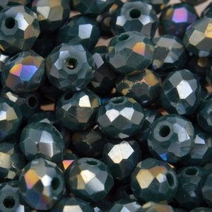 Groen Glaskraal facet rondel dark teal green AB 6x4mm - 45 stuks