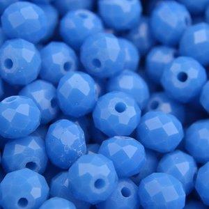 Blauw Glaskraal facet rondel royal blue 6x4mm - 45 stuks