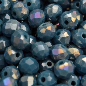 Blauw Glaskraal facet rondel teal blue AB 6x4mm - 45 stuks