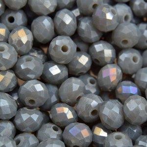 Grijs Glaskraal facet rondel light steel grey AB 6x4mm - 45 stuks