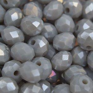 Grijs Glaskraal facet rondel light grey AB 6x4mm - 45 stuks