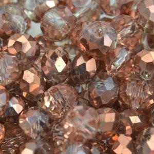 Bruin Glaskraal facet rondel crystal rosegold 6x4mm - 45 stuks