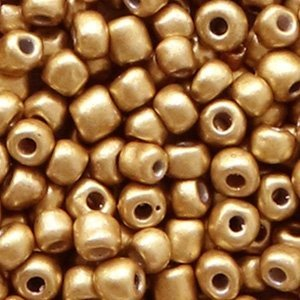Bruin Rocailles glas Almond gold metallic 6/0 (4mm) - 20 gram