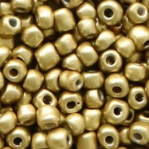 Bruin Rocailles glas Medallion gold metallic 6/0 (4mm) - 20 gram