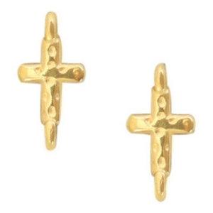 Goud Tussenzetsel kruisje Goud DQ 14.5x7.2mm
