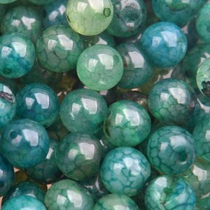 Groen Edelsteen rond Agaat crackle aqua groen 8mm