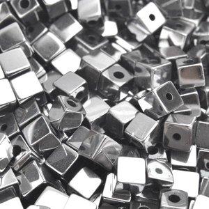 Zilver Edelsteen vierkant hematiet zilver plated 4mm - 20 stuks