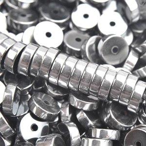 Zilver Edelsteen disc hematiet zilver plated 6x2mm - 15 stuks
