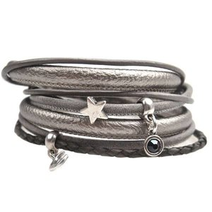 Grijs DIY armband moon & stars leer Silver grey