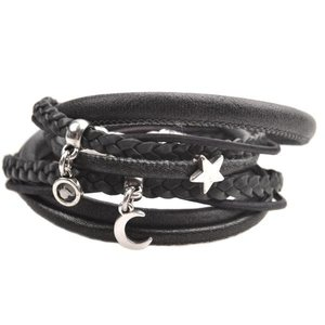 Zwart DIY armband moon & stars leer Black