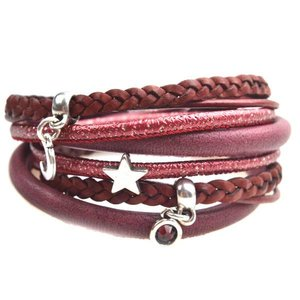 Rood DIY armband moon & stars leer Dark red