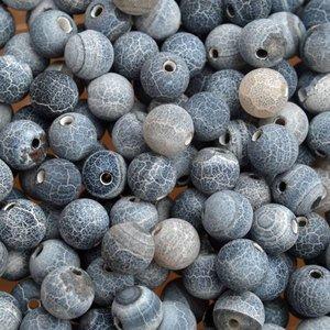 Blauw Edelsteen kraal Frosted crackle Agaat donker blauw rond 6mm - 10 stuks