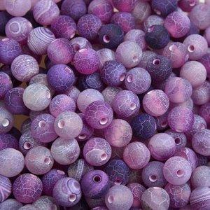 Paars Edelsteen kraal Frosted crackle Agaat paars rond 6mm - 10 stuks