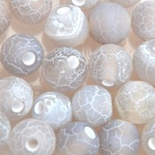 Grijs Edelsteen kraal Frosted crackle Agaat licht grijs rond 6mm - 10 stuks
