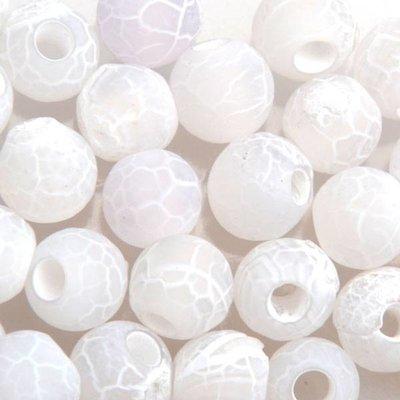 Wit Edelsteen kraal Frosted crackle Agaat wit rond 6mm - 10 stuks