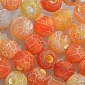 Oranje Edelsteen kraal Frosted crackle Agaat oranje rond 6mm - 10 stuks