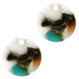 Turquoise Resin hanger muntje Turquoise-bruin 12mm