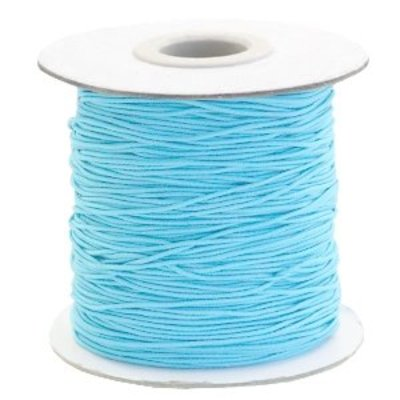 Blauw Gekleurd elastisch draad Sky blue 1mm - per 4 meter