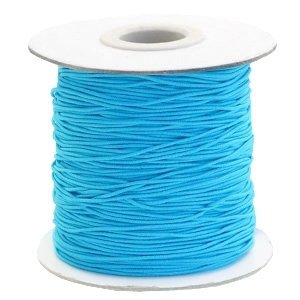 Blauw Gekleurd elastisch draad Aqua blue 1mm - per 4 meter