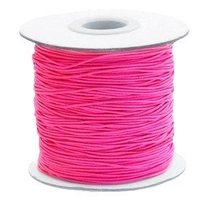 Roze Gekleurd elastisch draad Fuchsia pink 1mm - per 4 meter