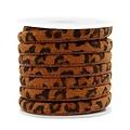 Bruin Trendy gestikt koord leopard print Cognac brown 6x4mm  - prijs per 20cm