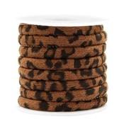 Bruin Trendy gestikt koord leopard print Walnut brown 6x4mm  - prijs per 20cm