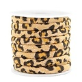 Bruin Trendy gestikt koord leopard print Camel brown 6x4mm - prijs per 20cm
