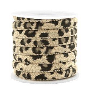 Bruin Trendy gestikt koord leopard print Sand beige brown 6x4mm - prijs per 20cm