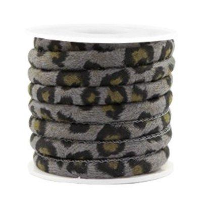 Grijs Trendy gestikt koord leopard print Grey 6x4mm - prijs per 20cm