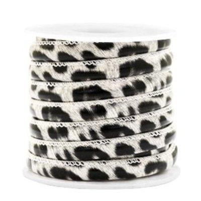 Wit Trendy gestikt koord leopard print White 6x4mm - prijs per 20cm