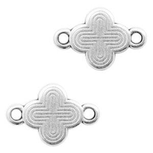 Zilver Tussenzetsel kruis of klaver Zilver DQ 15x10mm