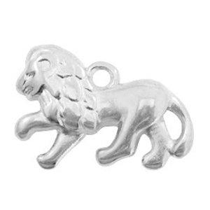 Zilver Bedel metaal leeuw Zilver DQ 22x14mm