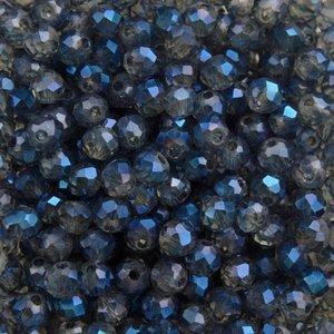 Blauw Glaskraal rondel grijs blauw shine 4x3mm - 90 stuks