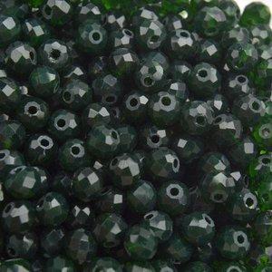 Groen Facet rondel Dark green opaque 4x3mm - 90 stuks