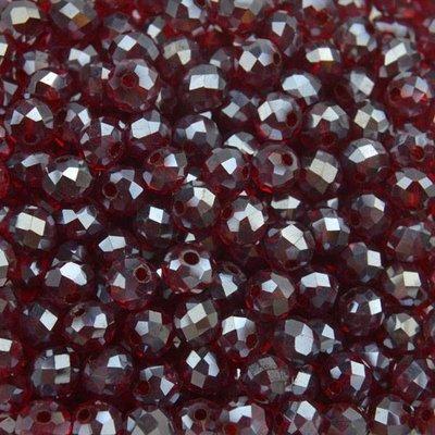 Rood Facet rondel dark red AB 4x3mm - 90 stuks