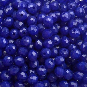Groen Facet rondel Sapphire blue opaque 4x3mm - 90 stuks