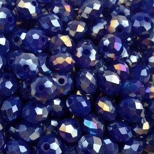 Blauw Glaskraal facet rondel sapphire blue AB 6x4mm - 45 stuks