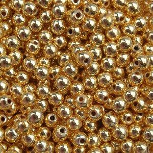 Goud Edelsteen kraal Hematiet gold plated rond 3mm - 20 stuks
