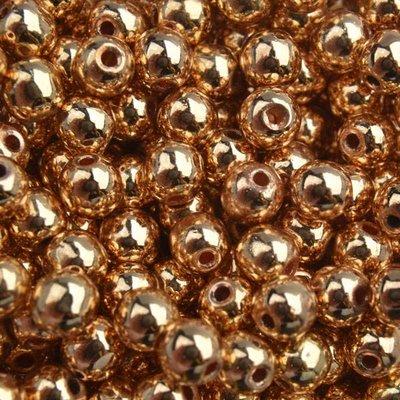 Goud Edelsteen kraal Hematiet light gold plated rond 4mm - 20 stuks