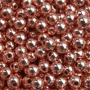 Rosegoud Edelsteen kraal Hematiet rosegold plated rond 4mm - 20 stuks