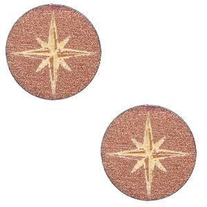 Roze Houten cabochon ster Rosegold 12mm