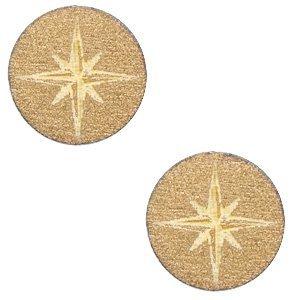 Bruin Houten cabochon ster Gold 12mm
